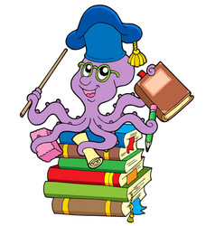 Octopus teacher on pile of books vector