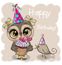 owl with gift and a bird on a beige background vector image