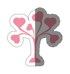pink tree leaves shape hearts lovely shadow vector image