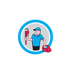 Plumber with monkey wrench toolbox cartoon vector