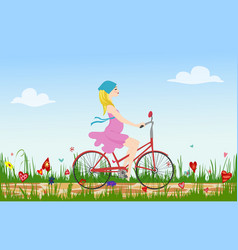 pregnant young woman riding bike on spring vector image