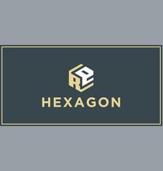 Re hexagon logo design inspiration vector