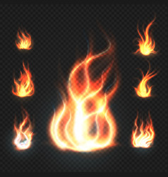 Realistic orange and red fire flames fireballs vector