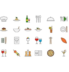 restaurant food colorful icons set vector image