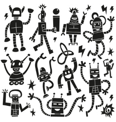 Robots - doodles set vector