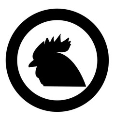 rooster head the black color icon in circle or vector image