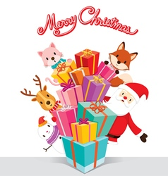 Santa Claus Animals And Gift Boxes vector