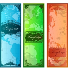 Set of three colorful bookmarks with map vector image
