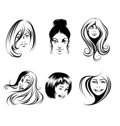 six womens hairstyles vector image