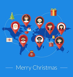 Social media and christmas congratulation concept vector image