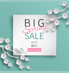 Spring sale floral banner with paper cherry flower vector