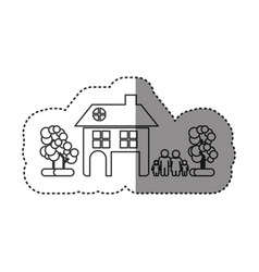 Sticker of monochrome contour of family away from vector