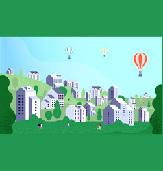 suburb town landscape people walking on district vector image