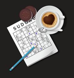 Sudoku game mug of cappuccino and cookies vector