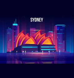 sydney cityscape cartoon background vector image