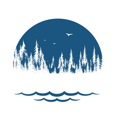 Symbol forest with lake vector