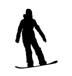 Teenager girl on snowboard descending silhouette vector