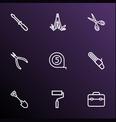Tools outline icons set collection of paint turn vector