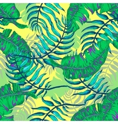 tropical Flowers and Palm vector image