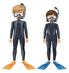 Two scuba divers with mask and fin vector