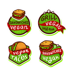 Vegan fast food logo set vector