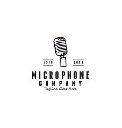 vintage classic round line microphone logo design vector image