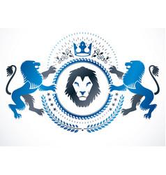 Vintage emblem made in heraldic design composed vector