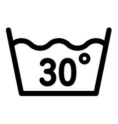 Wash at 30 degree or bellow icon outline style vector