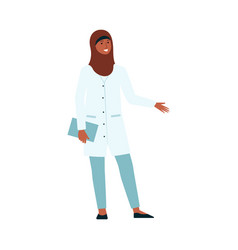 Woman doctor with hijab in medical uniform vector