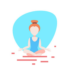 woman doing yoga exercises lotus white background vector image