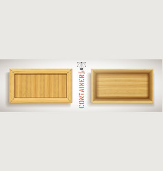 Wooden simple rectangular container with vector