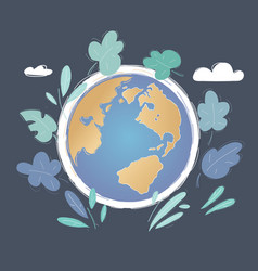 world globe on dark background vector image