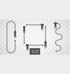 zipper buttoned flat style vector image