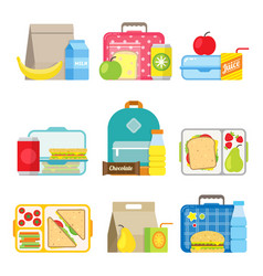 childrens school lunch box icon in flat style vector image vector image