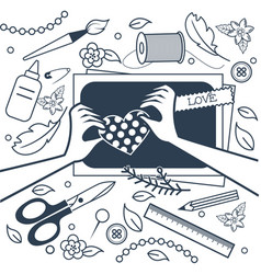 handmade crafts workshop art fair vector image vector image