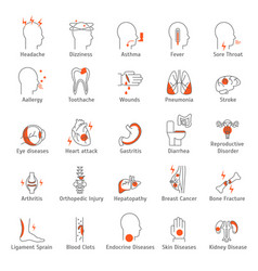 human diseases signs thin line icon set vector image vector image