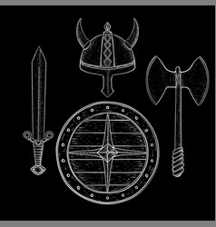 viking warrior set - shield sword axe and horned vector image vector image