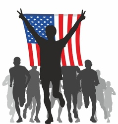 Winner with the American flag at the finish vector image vector image