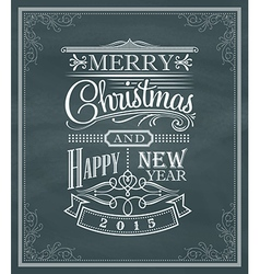 Christmas new year vintage label frame chalk board vector image vector image