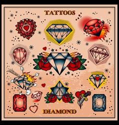 diamond tattoos vector image vector image