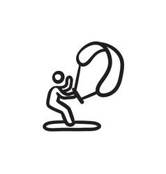Kite surfing sketch icon vector