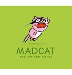 Abstract mad cat monster logo icon concept vector image vector image