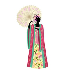 Chinese girl umbrella vector image vector image