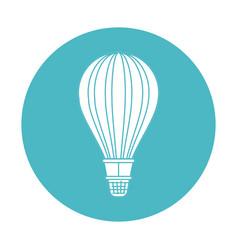 circle light blue with hot air balloon vector image vector image
