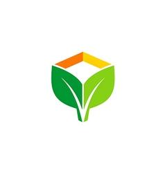 green leaf eco botany logo vector image