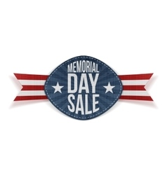 Memorial day sale paper label with text vector
