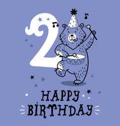 birthday card for 2 year old baby vector image