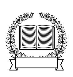Crown of leaves with open book and label vector