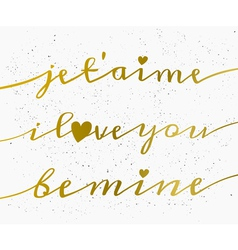hand drawn gold text valentines day greeting card vector image vector image
