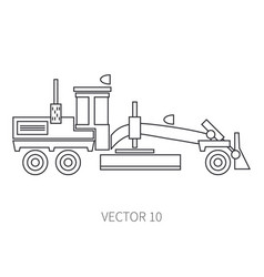 Line flat icon construction machinery road vector